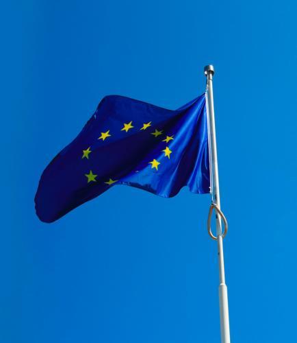 Bandiera dell'Unione Europea in tessuto poliestere nautico da pennoni, confezionata con doppia cucitura perimetrale, tela di rinforzo e corda di fissaggio sul lato corto sinistro. Formato orizzontale cm 100x150.